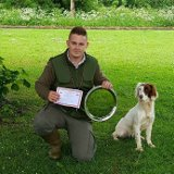 Ryan Hoggan and 10 month old Lexi win 1st place at the Central Scotland Gundog Tests