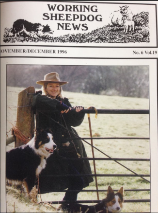 Ceri on the cover of Working Sheepdog News 1996