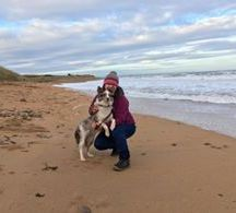 Heather Negus - Here's my wee Turadh stopping for a little hug during a beautiful beach walk ... Love her to bits 😍