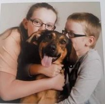 Ruth Smith-Howell - Bella my rescue GSD cross Doberman and my two children Abi and Michael